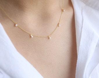 Swarovski Pearl Necklace - Delicate Pearl Necklace  -Minimal Pearl Necklace - Layering Necklace - Graduation Gift