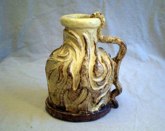 Faux Bois Rustic Artist Made Pottery Pitcher