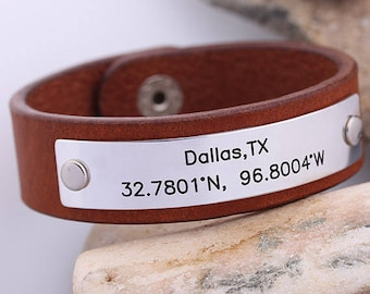 Mens Leather Bracelet - Personalized Leather Cuff - Latitude Longitude GPS Leather Bracelet - Hand Stamped Leather Cuff - Gift for Men