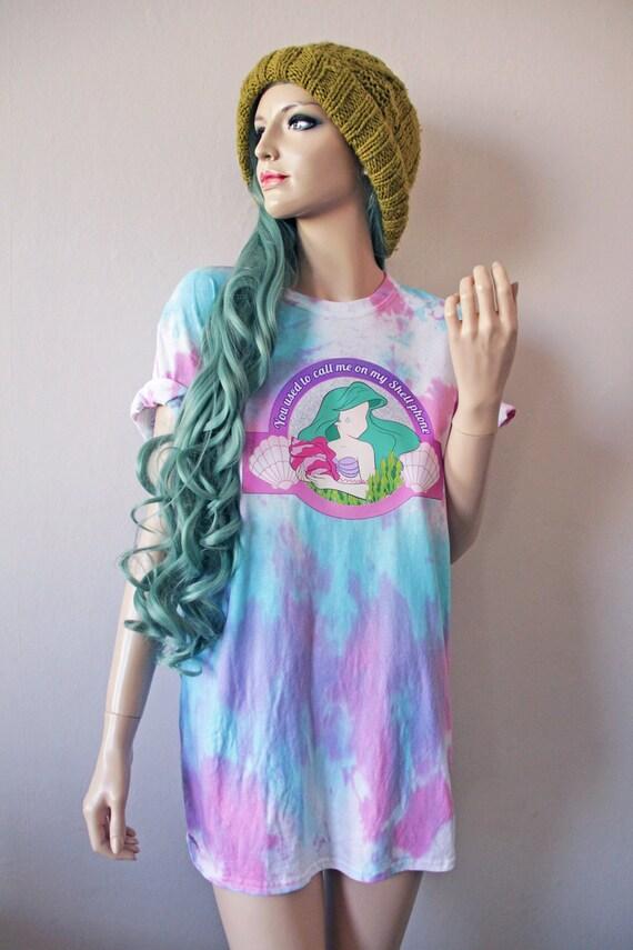 You used to call...Ariel Little Mermaid Dye T-Shirt hipster drake grunge harajuku babygirl tumblr cute gift