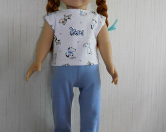 """18"""" Doll Clothes Puppy Shirt with Leggings fits American Girl Type 18"""" Dolls"""