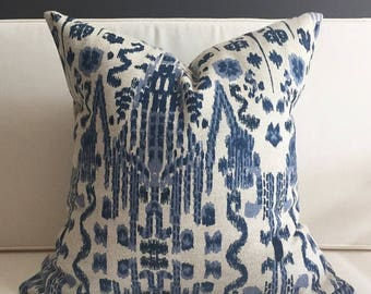 Pillow Cover, Blue Ikat Pillow Cover, MUMBAI