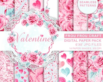 Pink Mint Roses Romantic Wedding Digital, Watercolor Valentine Love Digital, Valentine Background Paper Pack, Watercolor Hearts Digital