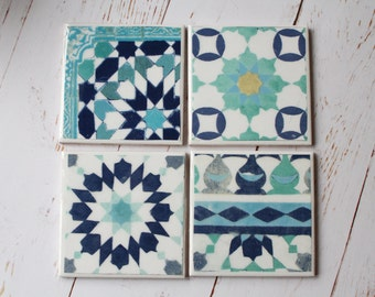 Moroccan Tile Coasters/ Blue Pattern Ceramic coaster set/  African Design Home decor