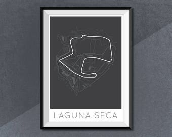 Mazda Raceway Laguna Seca Poster Print, Race Track Circuit Map Poster Monterey, California, United States Poster