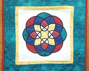 Stained glass Quilt Celtic Knot Wall hanging Hand Quilted
