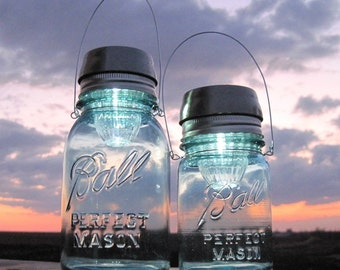 Mason Jar Solar Lights, RESERVED Order, Vintage Blue Mason Ball Jar Hanging Solar Lamps, PINT JARS, Upcycled Lighting, Garden, Party, Weddings, Outdoor Lantern, by TreasureAgain