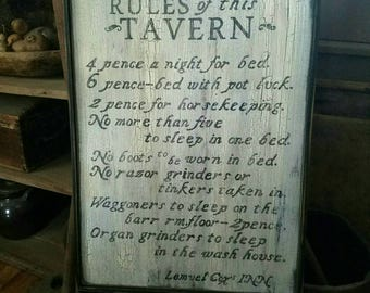 Rules of this Tavern Llemuel Cox Inn Wood Sign Antique Primitive
