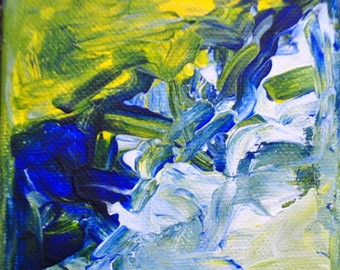 art, painting, abstract, colors, blue, yellow, white