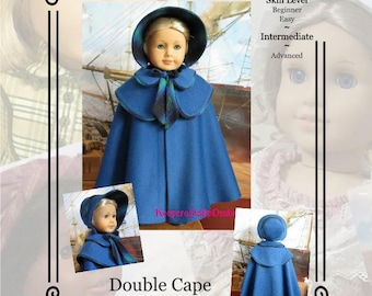 "PDF Pattern KDD18- ""Double Cape & Bonnet""- Makes 18"" Doll Clothes~An Original Design By KeepersDollyDuds"