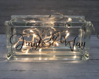 Small glass block light
