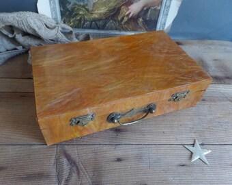 Old French box   Bakelite box  Amazing orange/ochre color  Jewelry box
