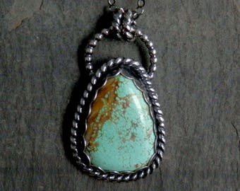 Turquoise necklace / #8 Mine turquoise / turquoise pendant / December birthstone / turquoise jewelry / number 8 mine / ready to ship / gift