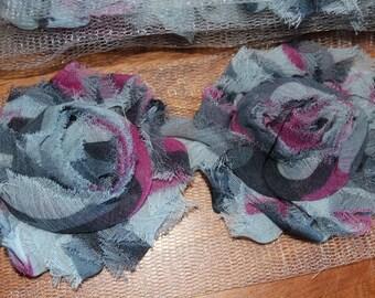 1 yard (14-15 flowers per yd) Shabby rosette flower heads in Grey Black Pink Swirl/Stripe