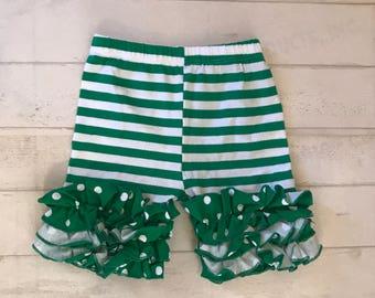 Shorties-ruffled Shorts! Toddler girls Green ruffled shorts, girls Green striped icing style shorties,Ready to ship !