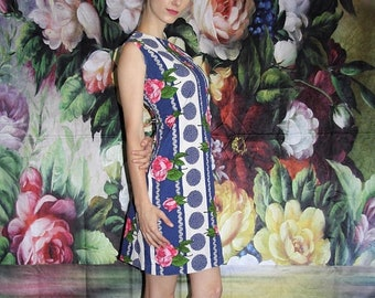 45% Off FLASH SALE - Pink Rose 1960s Vintage Mod Floral Polka Dot Mid Length Graphic Shift Dress - 60s Clothing - WV0423