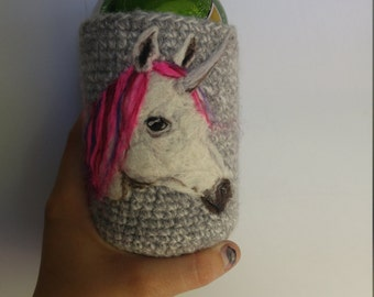 Unicorn felted can cozy