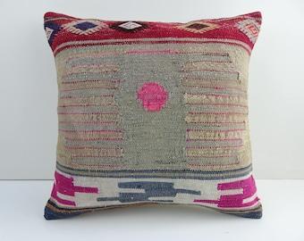 Kilim Pillow,Pink Kilim Pillow Cover,16x16 inch 40x40 Cm Decorative Vintage Turkish Kilim Pillow,Ethnic Kilim Rug Pillow Cover.Cushion Cover