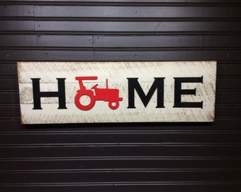 IH Case Farmall black and red tractor HOME plaque, sign