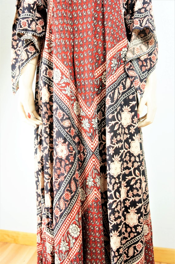 Adini Hippie Angel Adini Batik OSFA Semi 60s Caftan Cotton Cotton Sheer Adini Phool Bohemian Dress Sheer Sleeve Kayser Vintage Dress x4YTvw0