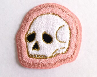 "Deserted Skull Chenille Patch, Iron-On Patch, 3.25"". Pink Accessory. Dia de los Muertos, Calavera, Til Death, Gift Idea, Party Favor."