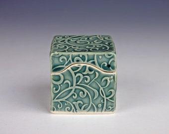 Small handmade ceramic box, teal blue-green glaze, slab built, porcelain