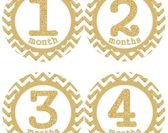 Baby Monthly Milestone Growth Stickers Gold Glitter Chevrons Nursery Theme MS125 Baby Shower Gift Baby Photo Prop