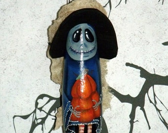 Hand Painted Original Designed Halloween Witch Ghoul Gourd Ornament - Witch - Halloween - Gourd Ornament - Home Decor - Halloween Decor