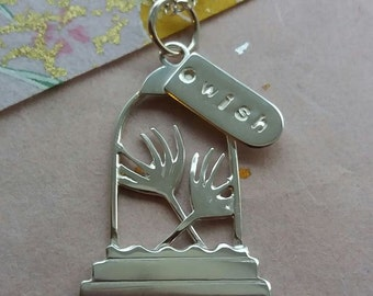 Handmade Silver  'Wishes' pendant - Dandelions in a Bell Jar