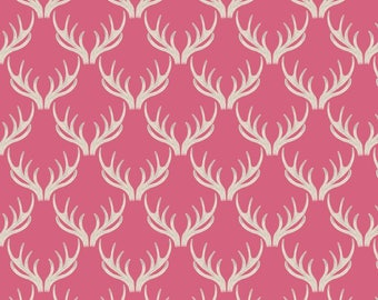 Pink Stag Antler Fabric by Lewis & Irene
