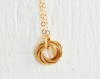 Infinity Necklace - Dainty Love Knot Necklace - Golden Mobius Chaimaille Necklace - 14k Gold - By BALOOS STUDIO