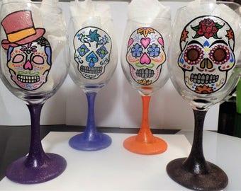 Sugar Skull Wine Glasses