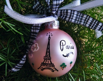 Eiffel Tower Ornament - Personalized Paris France Vacation Ornament - Handpainted Glass Christmas Ornament, Travel Ornament, French Decor