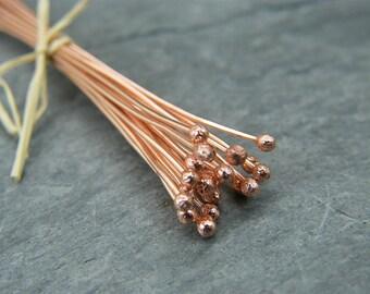 Copper Ball Head Pins - Copper Headpins - Copper Findings - Jewellery Making Supplies -  Ball End Head Pin - Headpins ~ Copper ball headpin