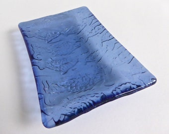 Fused Glass Fish Imprint Dish in Shimmering Pale Blue by BPRDesigns