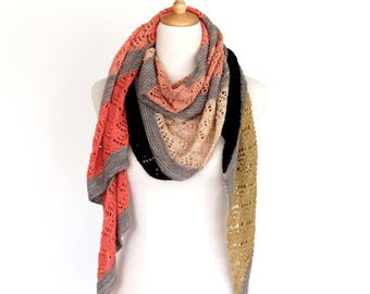 Torquata Wrap PDF Knitting Pattern Download English, French and Italian translations included
