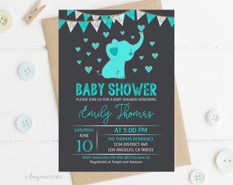 Elephant invite etsy nz elephant baby shower invitation baby shower invitation teal elephant invite gender neutral filmwisefo