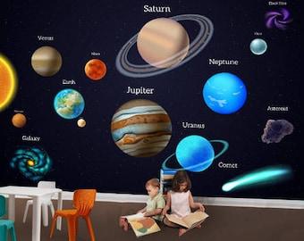 Kids Wall Decal,Boys Wallpaper Decor, Wallpaper, Wall Murals - Solar Planet, Solar System, Outer Space