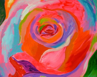 Rose Pop 3, funky art, abstract rose painting, bright bold painting, colorful painting, modern wall art, contemporary art fine art large art
