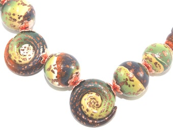 Spiral jewelry Christmas gift jewelry beads craft supply necklace DIY bracelet polymer clay beads for one of a kind friendship jewelry 9pcs
