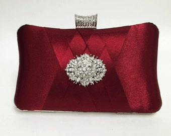 wedding clutch, formal clutch, Red maroon clutch, evening bag, bridesmaid clutch, bridesmaid bag, crystal clutch