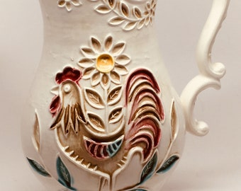 Napcoware Rooster with Flowers Pitcher
