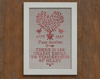 Tenderness of Heart: A Jane Austen Sampler - Romantic Cross-Stitch Pattern 5 page Instant Download PDF booklet
