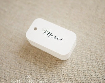 Merci Thank You Gift Tags - Wedding Favor Tag - Favor Bag Tag - Thank You Gift Tags - Bridal Shower Tags - Set of 30 (Item code: J477)