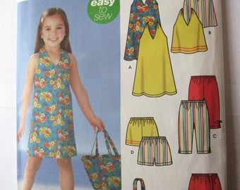 Simplicity 5531 - Girl's Easy to Sew Halter Dress and Top, Shorts, Skort, Capris, and Tote Bag -Size 3 4 5 6 7 8