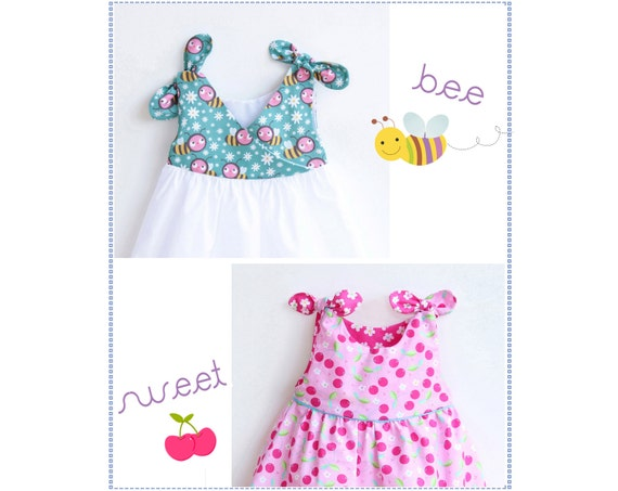 BEE SWEET Baby Girl Dress sewing pattern Pdf Overall Knotted