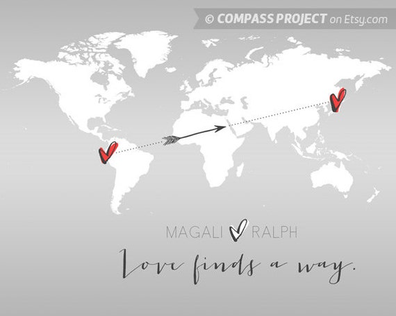 Long distance relationship long distance love customized long distance relationship long distance love customized world map art heart map print hearts world map print custom map print grey gumiabroncs Image collections