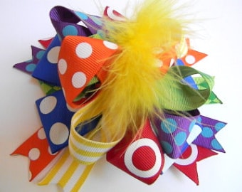 Primary polka dot Hair Bows - Over the top Loop Style Big Bows