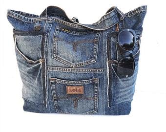 Denim bag LOIS Recycled jeans tote  bags and purses shoulder bag, large beach bag, blue handbag,shopper, casual bag