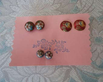 Lot of 3 Pair Vintage Pierced Post Cloisonne Stud Earrings, Gold Tone, Red, Blue, Pink